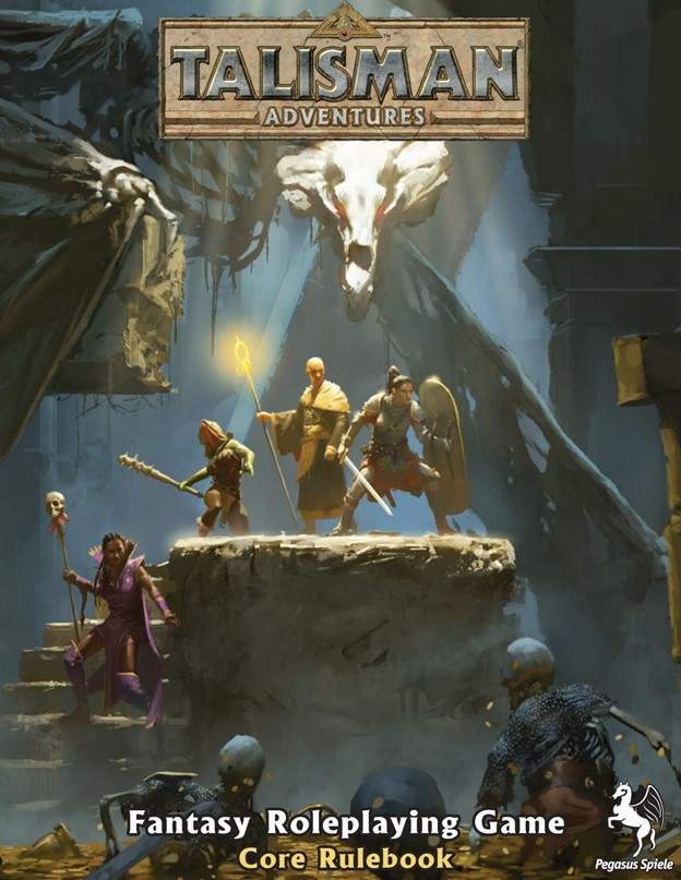 A party of adventurers standing on a stone dias, facing a group of skeletons rising from the ground.