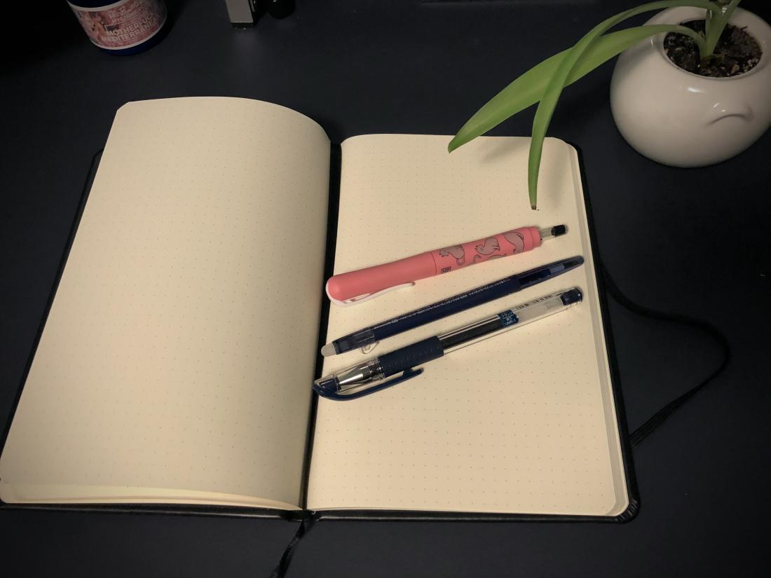 Rhodia dot notebook and three pens