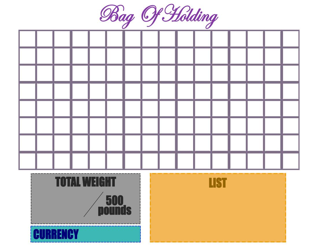 The image shows a simple inventory system consisting of a grid for the players to place their items in. Below, some boxes allow to list the items, sum the total weight placed in the bag of holding, and indicate the amount of money inside the bag.