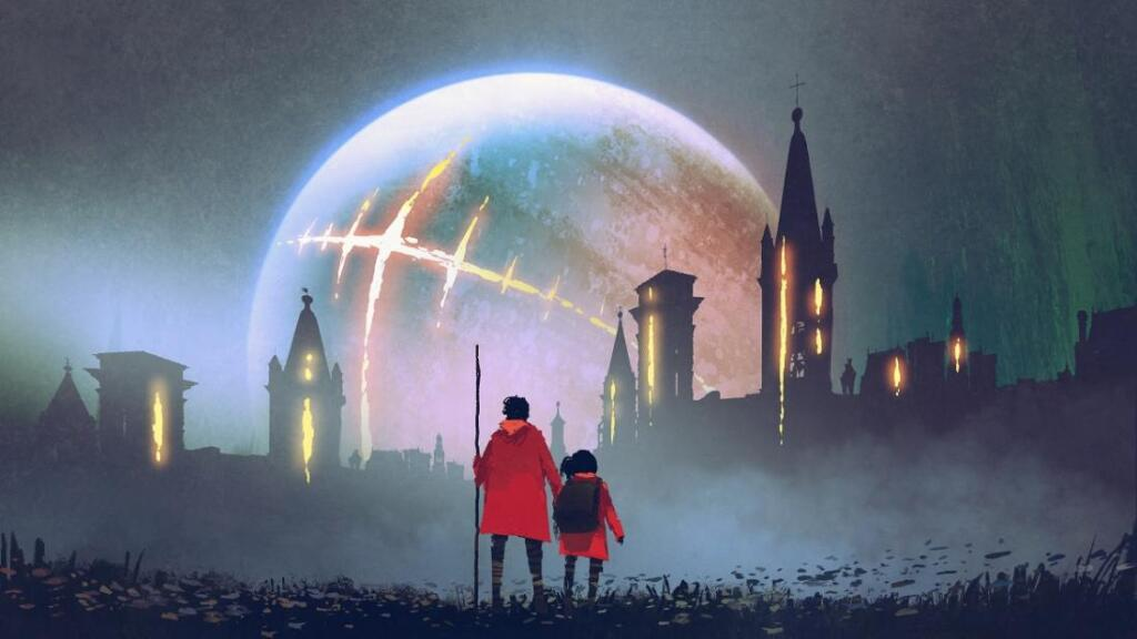 Two people stare at a scarred moon over a gothic background