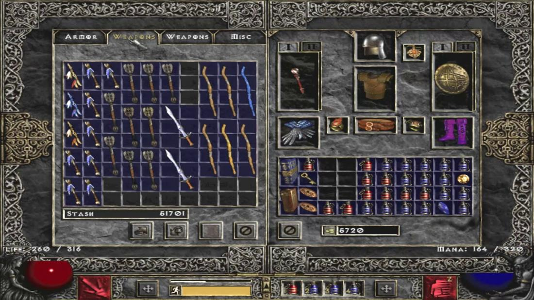 The image displays a screenshot from the inventory system of Diablo 2. This one has several item slots but has items such as swords and staffs take multiple slots, as if they were Tetris' pieces, except they are all vertically placed