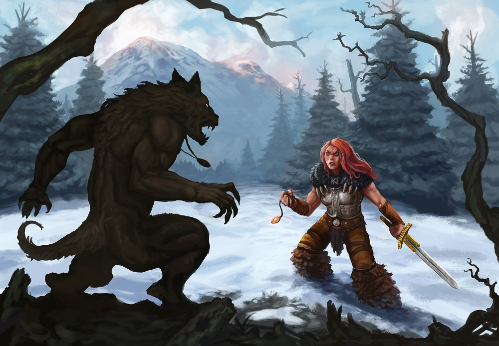werewolf-and-warrior-in-a-snow-covered-mountain-landscape-ready-to-fight-digital-fantasy-painting-2