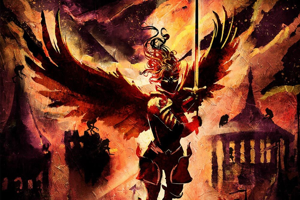 A Valkyrie-like creature flies with its open wings towards the camera, with a great longsword at hand. Her figure is shadowd due to the fire standing behind her, showing a city being burned down. Some ghastly creatures cling from the city's rooftops