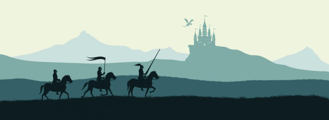 Three mounted adventurers with a castle and a dragon in the distance.