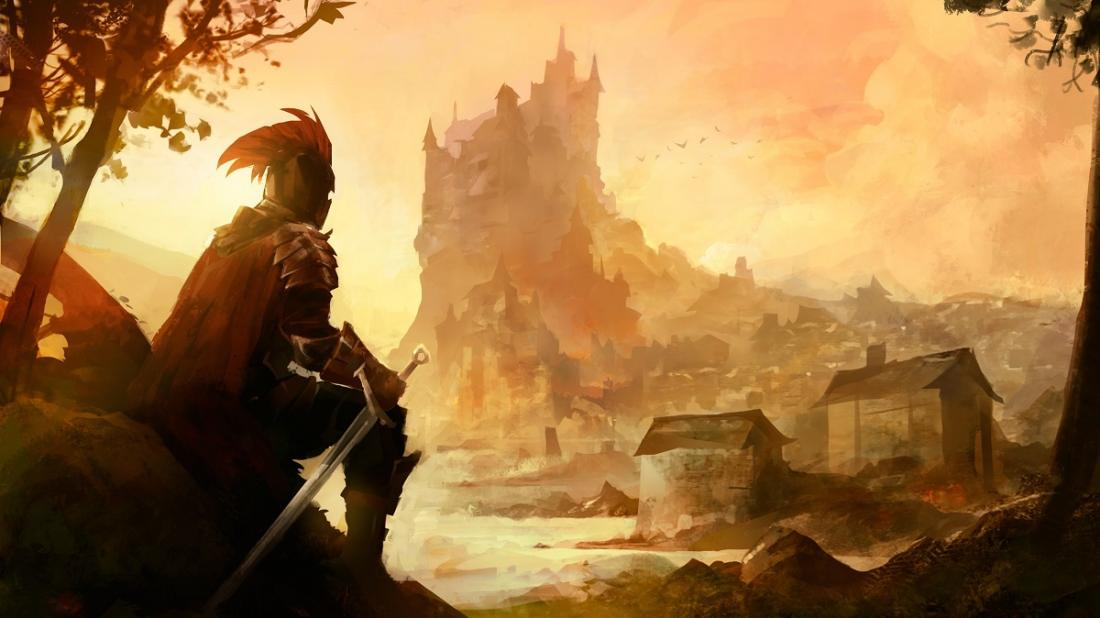 An armored adventurer looking at a castle at a distance.