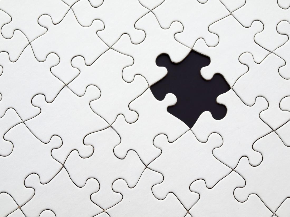 A puzzle with a missing piece