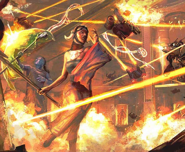 A group of adventurers takes heavy energy beam fire, with fires start all around them.