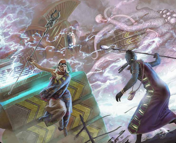 A huge alien creature attacks a ship while one adventurer moves away from it, and the other unleashes an energy storm against it.