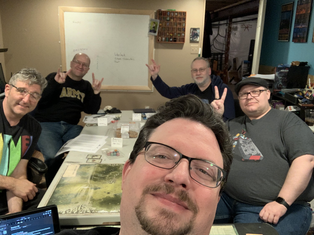 A table selfie of our first game back in person