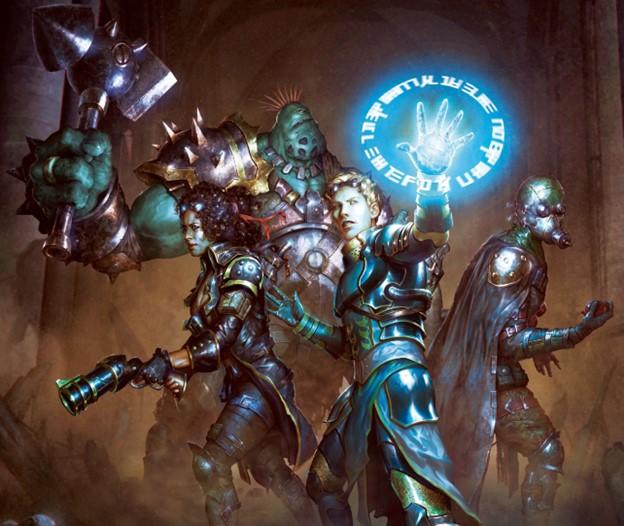 An alchemist, gunfighter, soldier, and alchemist explore a cavern.