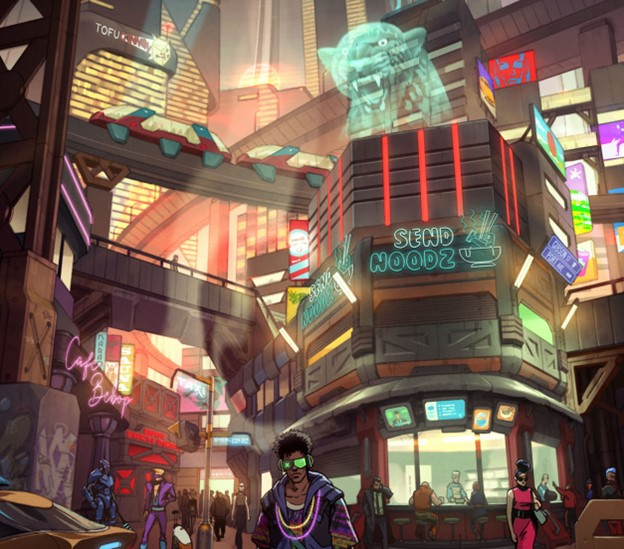 A corner of the city, with a noodle stand, holographic ads, and an elevated train.