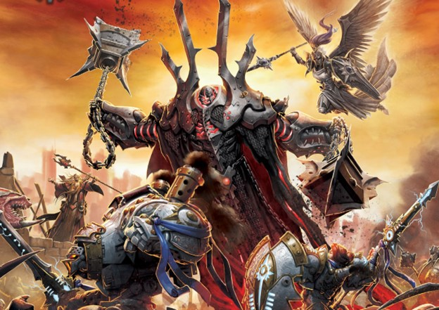 A huge armored infernal is fighting against an angelic figure and an armored adventurer.