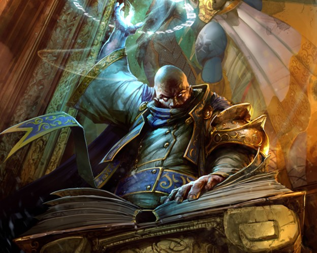 A spellcaster summons magic while reading from a tome.
