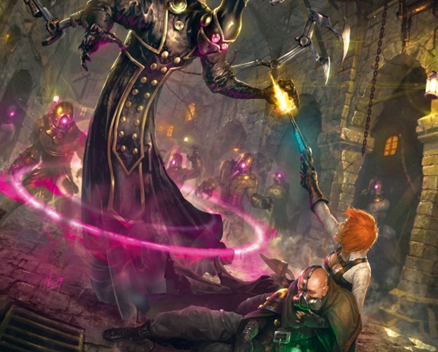 A looming necrotechnician menaces a gun mage, with this mindless servitors closing in the background.