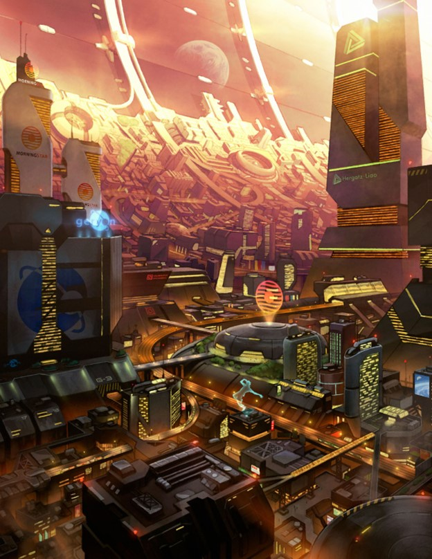 A brighly lit futuristic city, built along the curve of a space station.