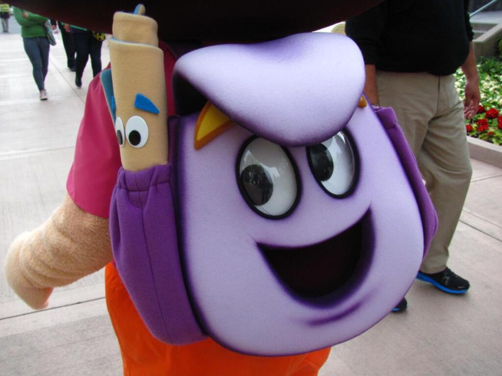 Dora's map and backpack. They are sewn; part of a costume someone is wearing.