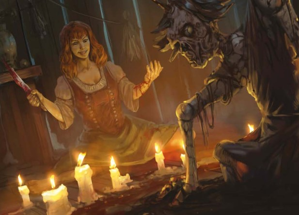 A woman holding a bloody knife, surrounded by candles, animating a corpse.