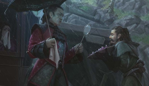 A vampire aristocrat addresses a footman in the rain, outside of a carriage.